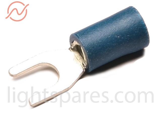 Kabelschuh blau Gabelzunge M4